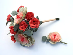book paper peony and rose bouquet