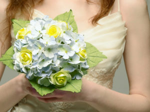 hydrangea and roses paper bouquet