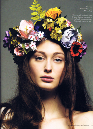 Paper Flower Head Piece featured on Belle Armoire