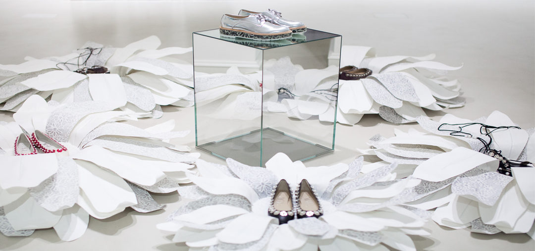 Paper Daisies Window Display at AGL Shoes, Milan