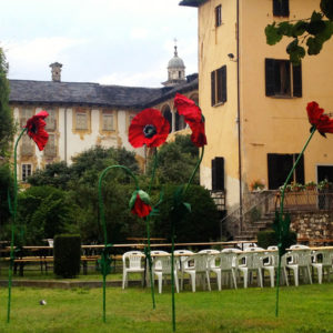 Giant poppy installation during the art exibition